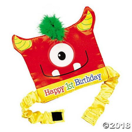 1st Birthday Mini Monster Party Hat - Mini Birthday Party Hats