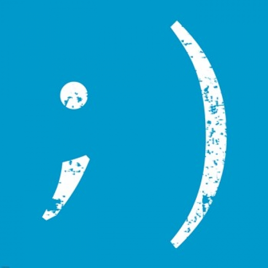Blue Wink Smiley Poster Print by Veruca Salt (34 x 34)