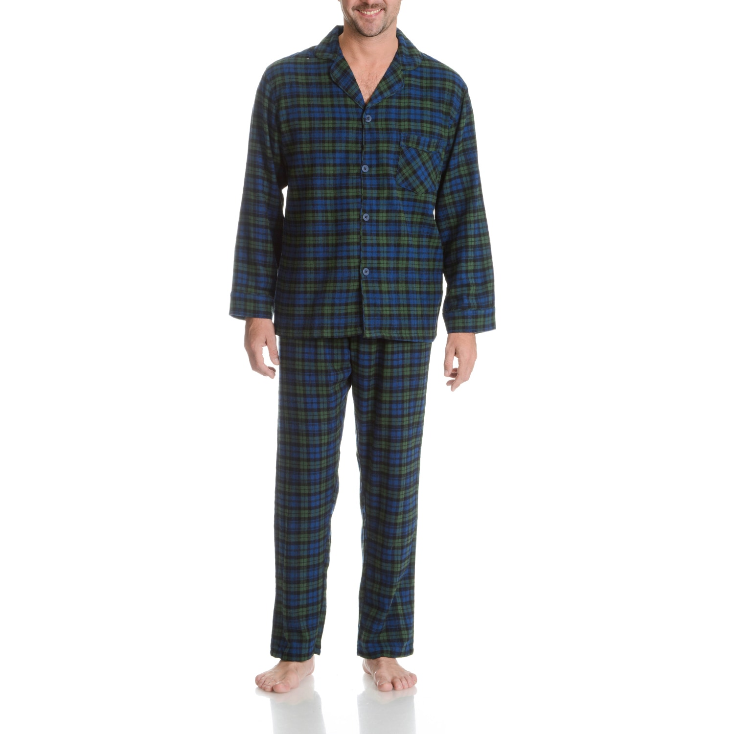 Hanes  Men's Blackwatch Plaid Woven Flannel 2-piece Pajam...