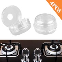 Clear Stove Knob Covers (4 Pack) Child Safety Guards, Large Universal Design - Baby Proof, Gas Cooker Protection Lock, Heat-resistant and Durable
