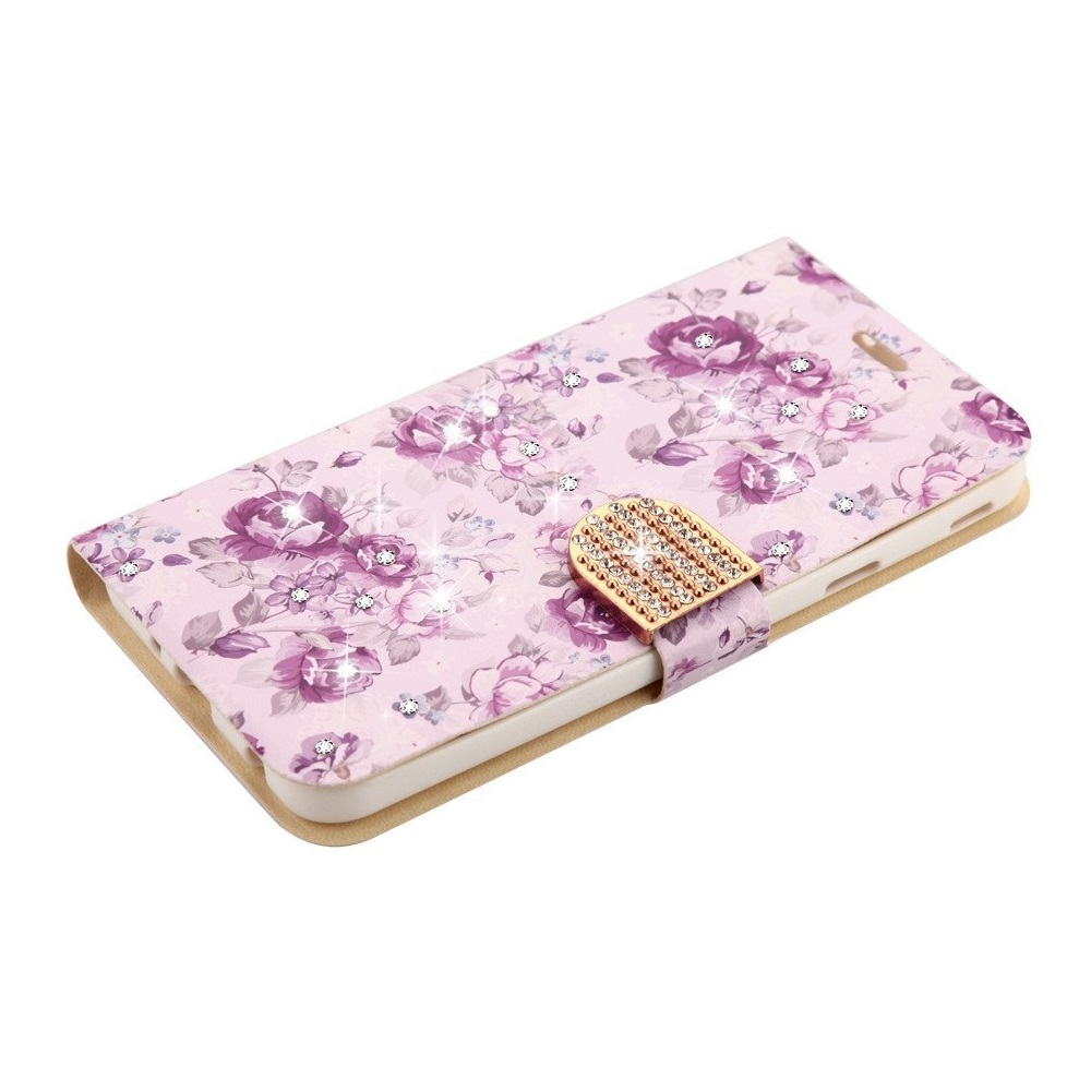 MyJacket PU Leather Diamond Bling Flip Cover Wallet Case for Samsung Galaxy J7 Star 2018 - Purple Flowers