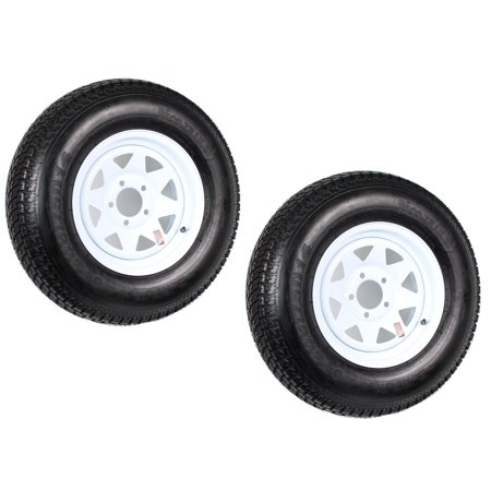 Two Trailer Tires Rims ST205/75D14 2057514 F78-14 14 in. LRC 5 Lug White (Best Tire Size For 17 Inch Rims)