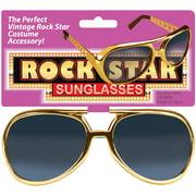 Star Power Men Rock Star Elvis Sunglasses, Gold, One Size