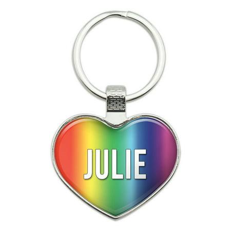 Julie I Love Name Heart Metal Key Chain