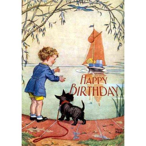 Boy and Scottie Dog Awaiting Birthday Boat - Birthday Greeting Card (6 Cards Individually Bagged W/ Envelopes & Header)