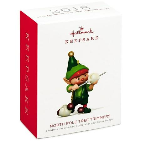 Hallmark Keepsake 2018 North Pole Tree Trimmers Popcorn Stringing Elf Ornament