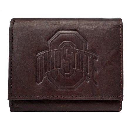 Ohio State Buckeyes NCAA Embossed Logo Dark Brown Leather Trifold (Brown Embossed Leather Tri Fold)
