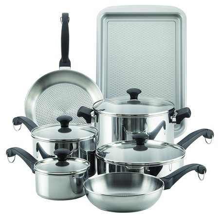 Farberware Stainless Steel Classic Cookware - Farberware Classic Traditions Stainless Steel Cookware Set, 12-Piece