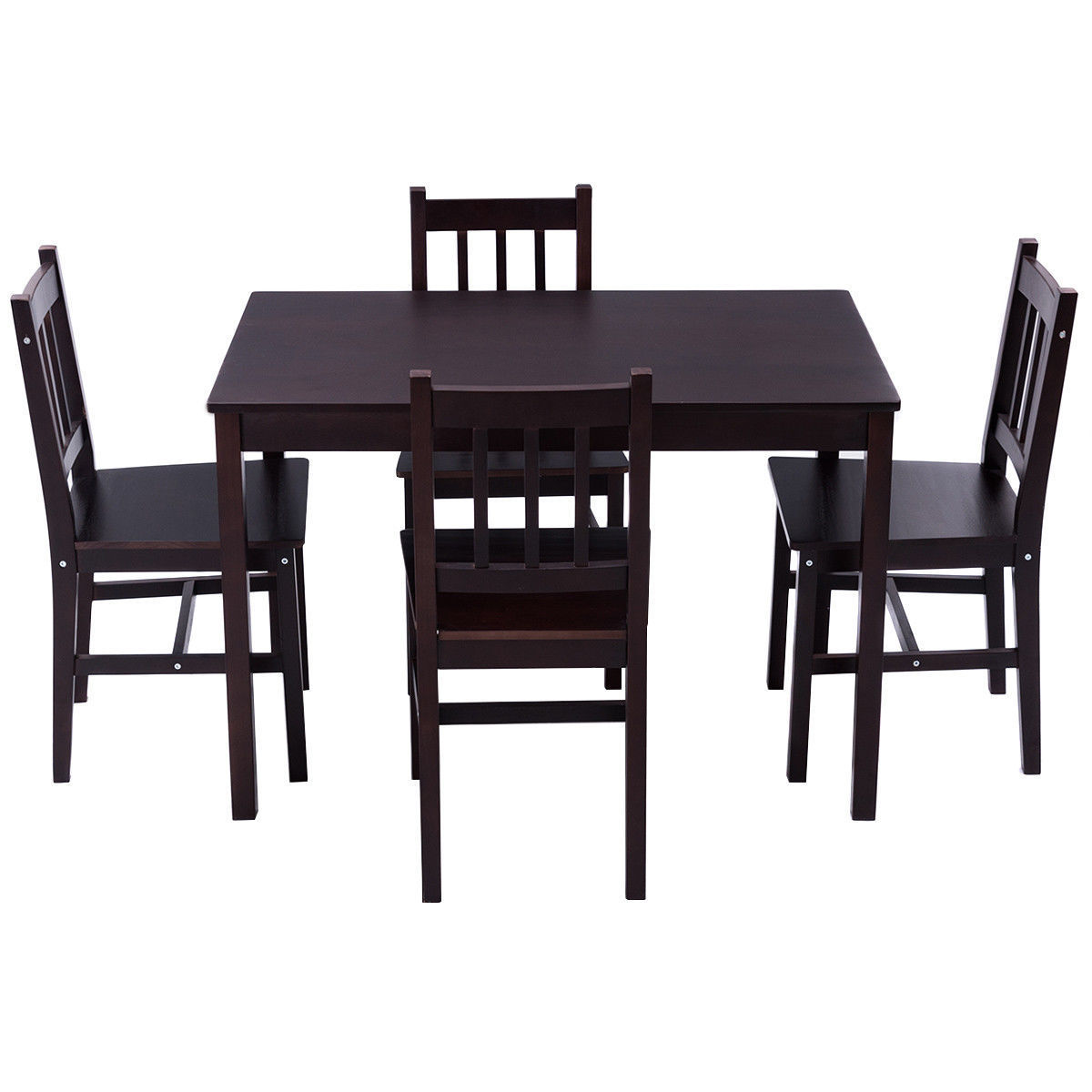 Ordinaire GHP 5 Pcs Brown Solid Pine Wood Home Kitchen Dining Table And Chairs  Furniture Set