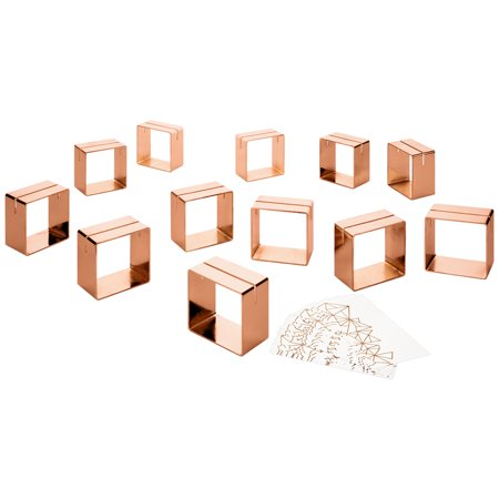 Koyal Wholesale 12 Piece Rose Gold Metal Modern Napkin Ring Place Card Holder Set, 12 Foil Place Cards Included ()