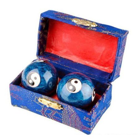 S-3581 Chinese Health Stress Relieve Hand Exercise Baoding Balls, Blue Taichi (Exercise Stress Test)