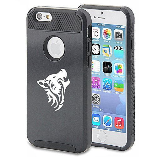 For Apple (iPhone 8) Shockproof Impact Hard Soft Case Cover Tribal Wolf (Black)