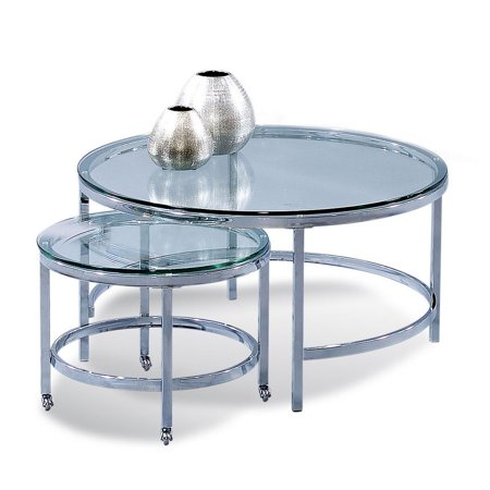 Bassett Mirror Patinoire Round Cocktail on Casters