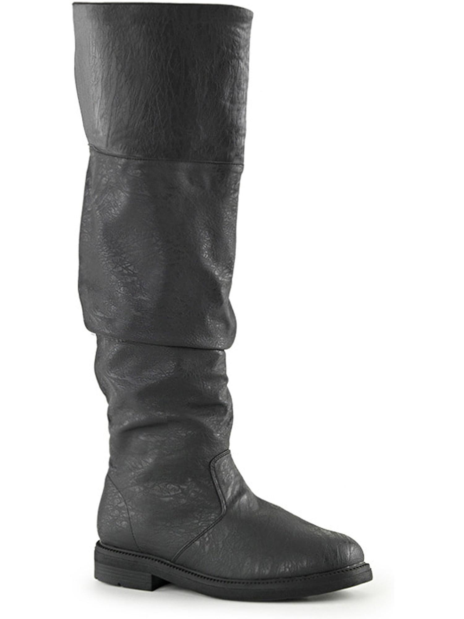 Mens Flat Heel Boots Black Renaissance Costume Boots 1 Inch Heel MENS SIZING