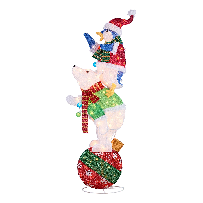 "Holiday Time Light up Polar Bear and Penguin Decoration 60"" Walmart"