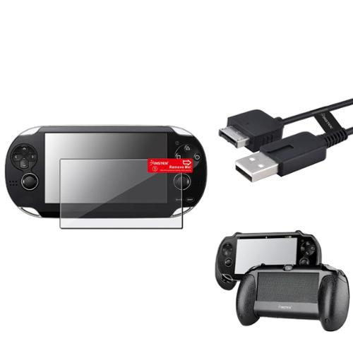 Insten Black Hand Grip+Clear Screen Protector+USB Cable For Sony PS Vita PSV