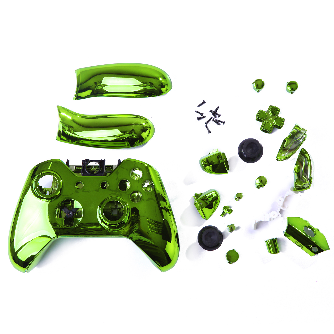 HDE Xbox One Controller Green Chrome Custom Case Wireless Gaming Replacement Cover Kit
