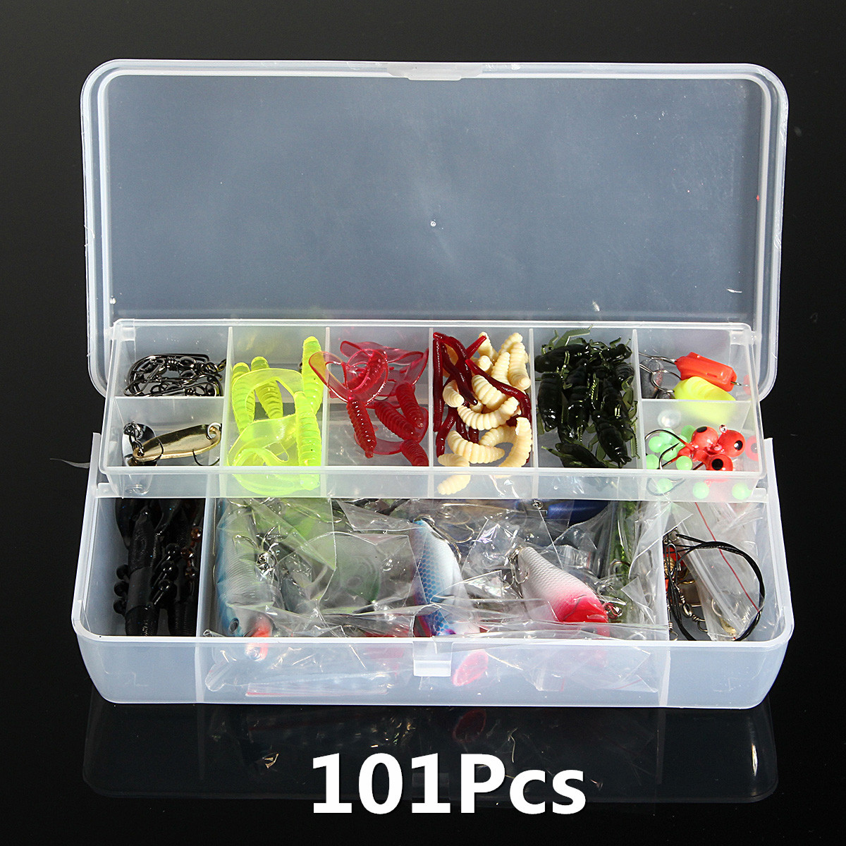 101Pcs Minnow Fishing Lure Set Hard Soft Crankbait Swimbait Two-layers Tackle Bo