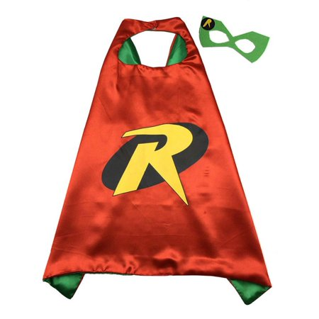 DC Comics Costume - Robin Logo Cape and Mask with Gift Box by Superheroes - Dc Robin Costume