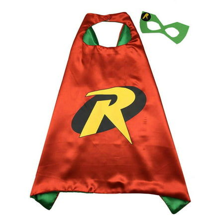 DC Comics Costume - Robin Logo Cape and Mask with Gift Box by Superheroes - Raven Dc Comics Costume