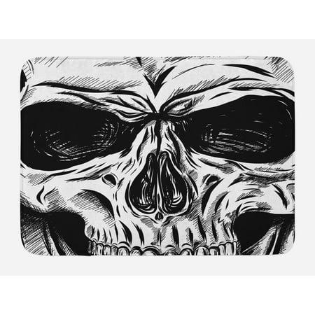 - Halloween Bath Mat, Gothic Dead Skull Face Close Up Sketch Evil Anatomy Skeleton Artsy Illustration, Non-Slip Plush Mat Bathroom Kitchen Laundry Room Decor, 29.5 X 17.5 Inches, Black White, Ambesonne