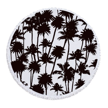 Palms Tapestry Throw (ZEDWELL palm Round Beach Towel Blanket Throw Watercolor Bohemian Yoga Mat Tapestry)
