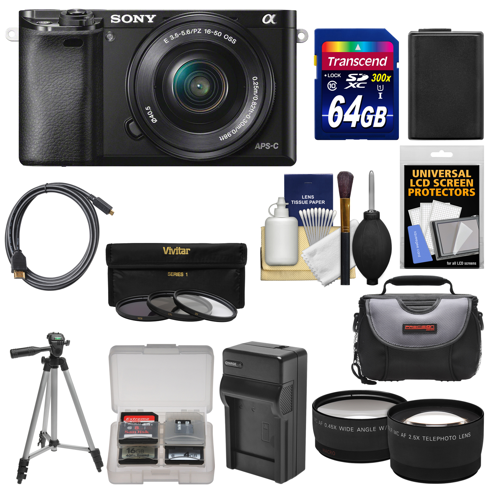 Sony Alpha A6000 Wi-Fi Digital Camera & 16-50mm Lens with 64GB Card + Case + Battery... by Sony