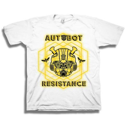 Transformers Little Bumblebee Movie Autobot Resistance Boys Tee, White, 4](Transformers Boy)