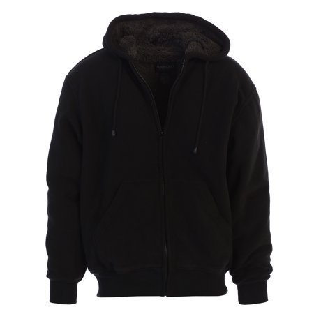 Gioberti Mens Sherpa Lined Pull Zip Fleece Hoodie