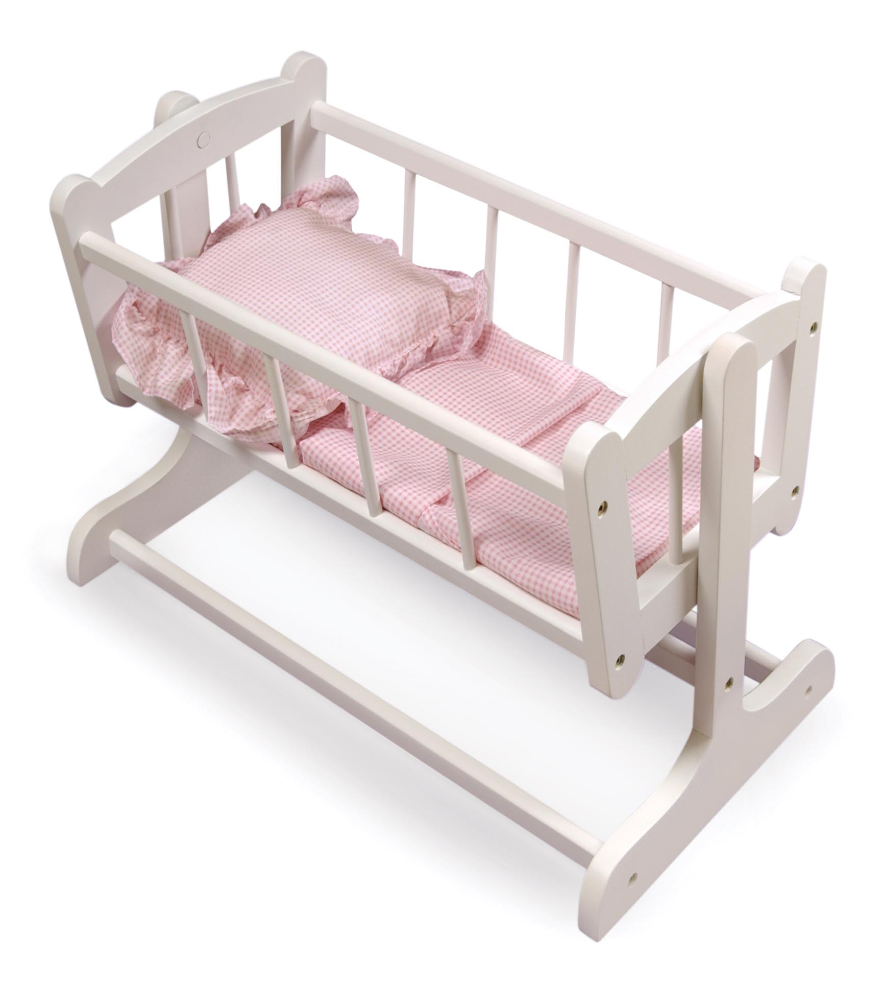 """Badger Basket Heirloom Style Doll Cradle with Bedding - White/Pink - Fits American Girl, My Life As & Most 18"""" Dolls"""
