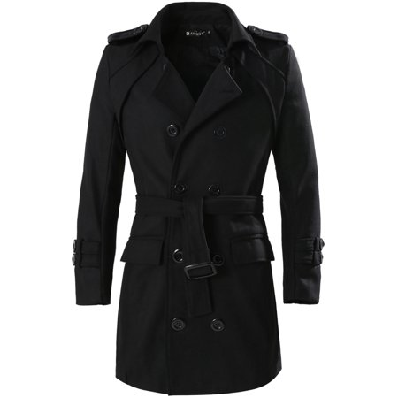 Unique Bargains Men's Button-tab Epaulets Double Breasted Belted Long Sleeves Worsted Coat Belted Long Sleeve Coat