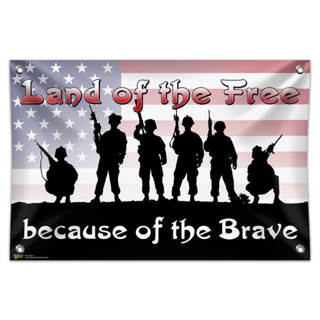 Land of the Free Because of the Brave - Patriotic America USA 33