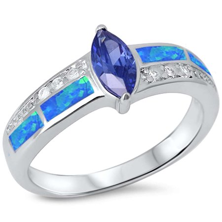 Simulated Tanzanite, Lab Created Blue Opal & Cz .925 Sterling Silver Ring sizes