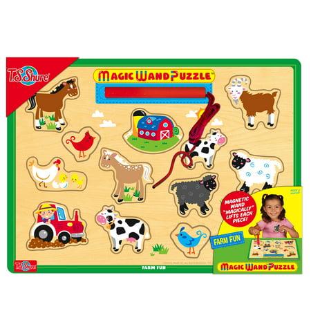 T.S. Shure - Farm Fun Wooden Magnetic Magic Wand (Magic Bath Puzzles)