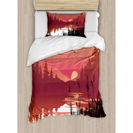 Landscape Twin Size Duvet Cover Set, Tranquil Sunset on River Bushes Distant Hills and Spruce Trees, Decorative 2 Piece Bedding Set with 1 Pillow Sham, Coral Pale Orange and Black, by (One Tree Hill River Court Pieces For Sale)
