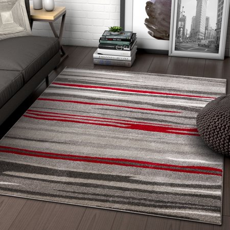 Well Woven Rocoso Stripes Red Geometric Modern Abstract Lines Area Rug 5x7 (5'3