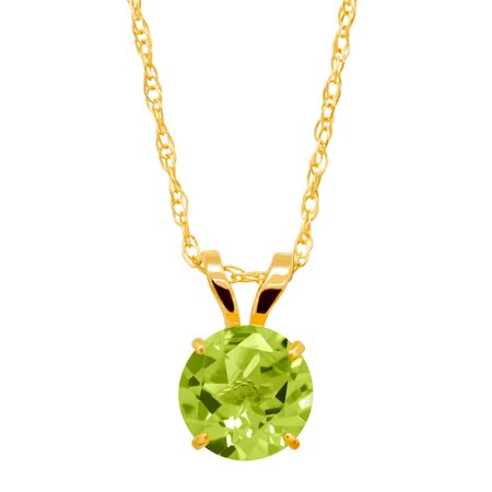 1 ct Round-Cut Natural Peridot Solitaire Pendant Necklace in 10kt (10k Peridot Necklace)