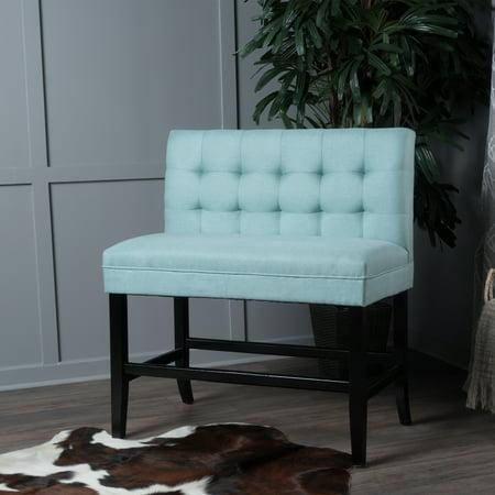 Noble House Nolan Light Blue Fabric Bar Stool Bench ()