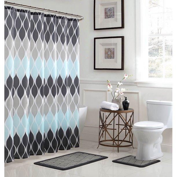 Clarisse Geometric 15 Piece Bathroom Shower Set Walmart Com Walmart Com