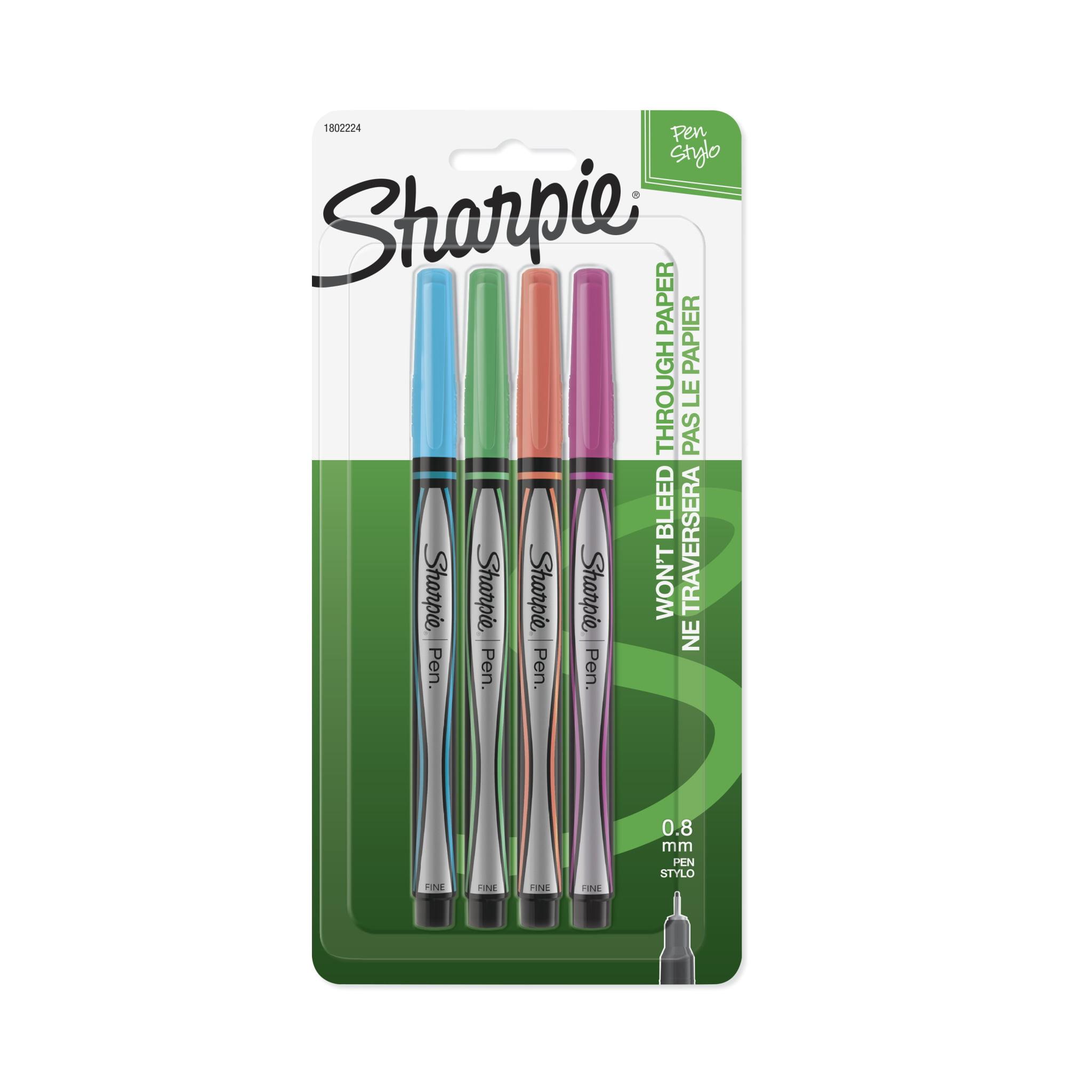 Sharpie Plastic Point Stick Pen, Assorted Fashion Colors, 4/Set