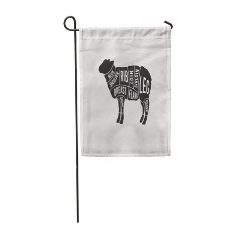 SIDONKU Guide Meat Cuts Diagrams for Butcher Scheme of Lamb Silhouette Chart Garden Flag Decorative Flag House Banner 12x18 inch