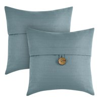 """Better Homes & Gardens Feather Filled Banded Button Decorative Throw Pillow, 20"""" x 20"""", Teal, 2 Pack"""