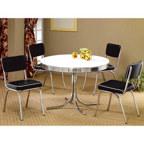 A Line Furniture Monticello Nostalgic Bistro Chrome 5-piece Dining Set