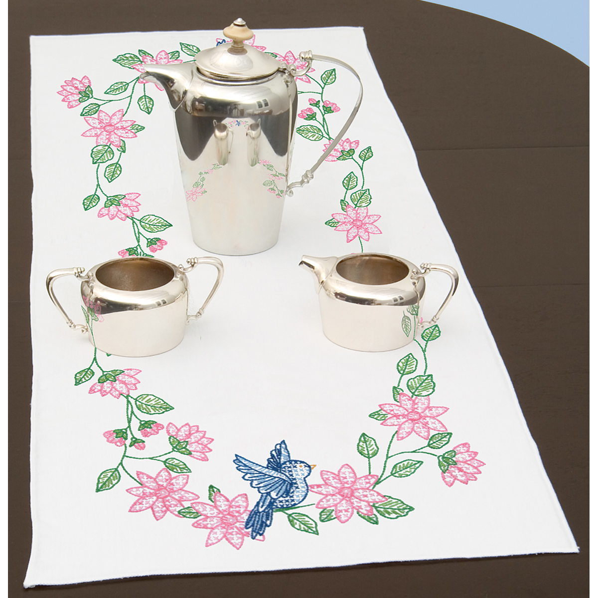 "Stamped Table Runner/Scarf 15""X42""-Birds"