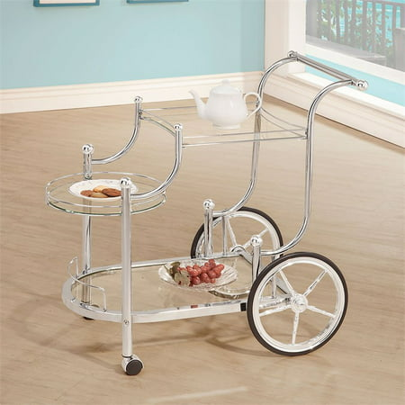 Bowery Hill Glass Top Serving Cart with Finials in Chrome - image 1 of 2