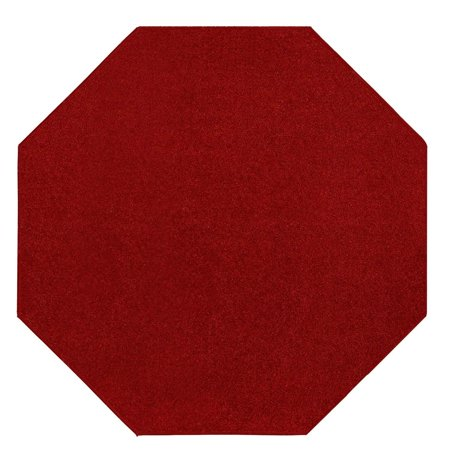 - Saturn Collection Solid Color Area Rugs Red - 10' Octagon