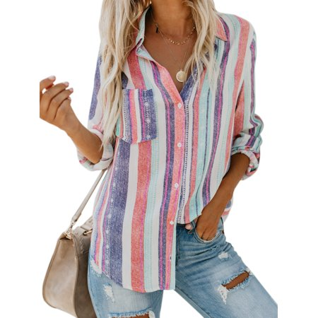 - Women Multi-Color Striped Linen Long Sleeve Button Down Casual T Shirt Loose Tops Blouse