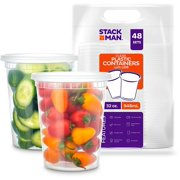 Food Storage Containers with Lids [48 Pack, 32oz] - Plastic Containers, Deli, Slime, Soup, Meal Prep Containers | BPA Free | Stackable | Leakproof | Microwave | Dishwasher | Freezer Safe