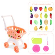 12Pcs Toy Shopping Cart with  Colorful Play Food Set Fruits and Vegetable Kitchen Wares Pretend Shopping Supermarket Playset for Kids & Toddler Thanksgiving Educational Gifts