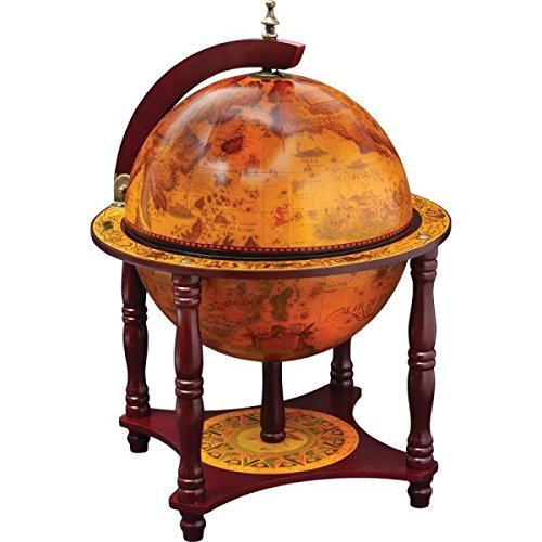 "KasselTM 13"" Diameter Globe with 57pc Chess and Checkers Set by Maxam"
